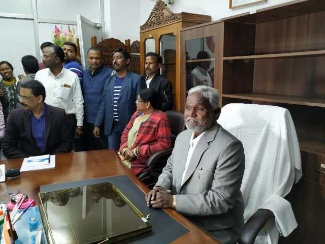 Minister champai soren took the office charge