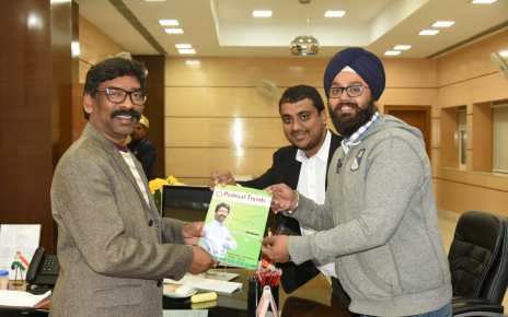 First copy of political trend gifted to cm Jharkhand