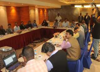 Review meeting by central minister arjun munda on central schemes.