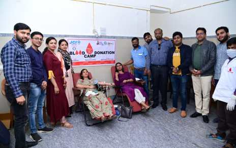 Blood donation camp by junior chamber international in rani hospital