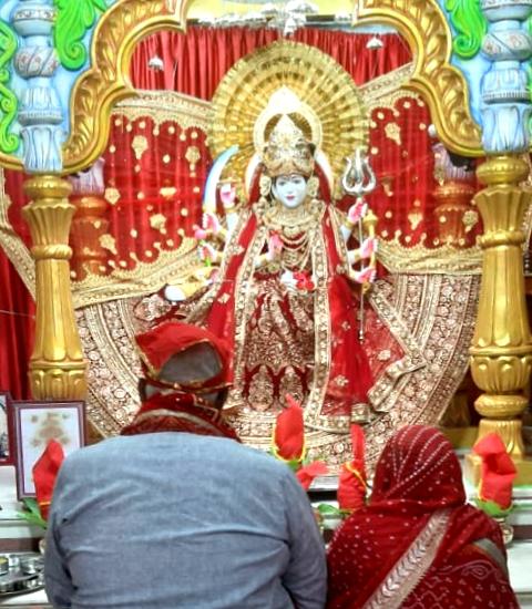 Navratri puja in sri radha Krishna mandir : first day