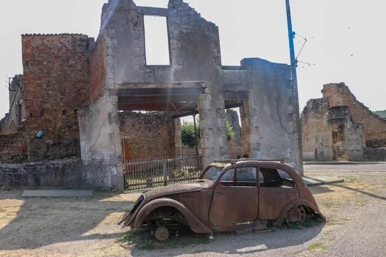 A car left after the burring of Oradour-sur-Glane