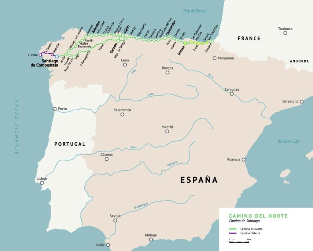A Map of the Caminio del Norte