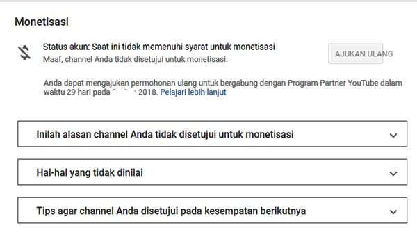 Inilah Alasan Channel Youtube Ditolak Monetisasi
