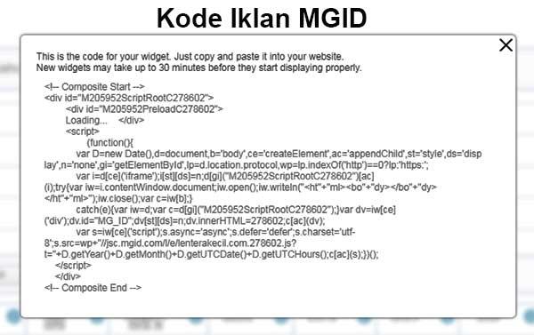 Kode script iklan MGID