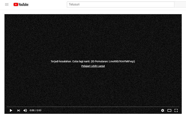 YouTube: Error 500 Internal Server