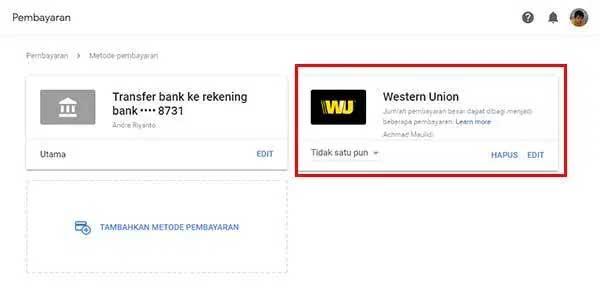 Google AdSense - Western Union