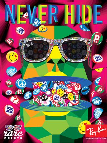 Arte em Cartaz de divulgação dos óculos de sol da Ray-Ban