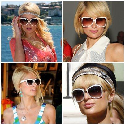 Paris Hilton de Óculos de Sol Branco