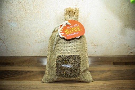 Lentille blonde de Saint-Flour : paquet en toile de jute de 500 grammes