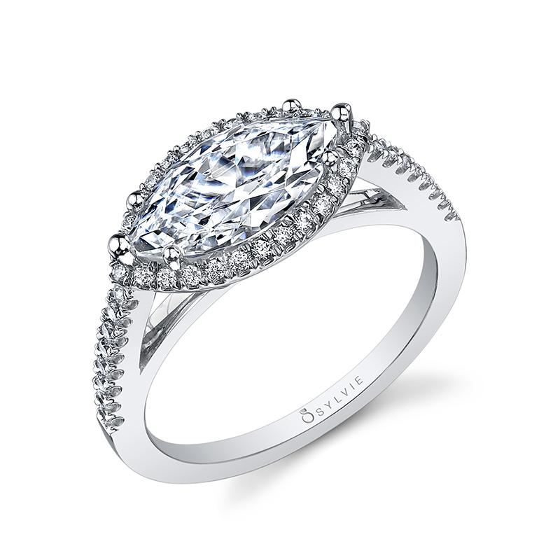East West Marquise Halo Diamond Engagement Ring Leo