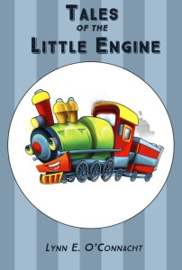"Cover for ""Tales of the Little Engine"". A cartoon steam train looking happy."