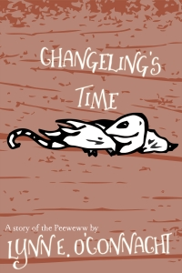 Changeling's Time: A small strange creature with wings and a long tail on a colourful background.