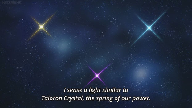 "Three stars (yellow, purple, blue) shining in the night sky forming a triangle. Text reads ""I sense a light similar to Taioron Crystal, the spring of our power""."