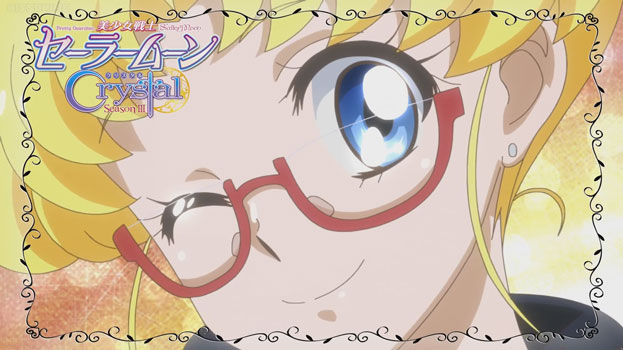 Usagi wearing glasses winks at the camera. The shot is encirled with a romantic frame.