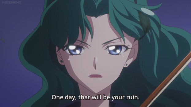 """Michiru glaring at the camera. Text: """"One day, that will be your ruin""""."""