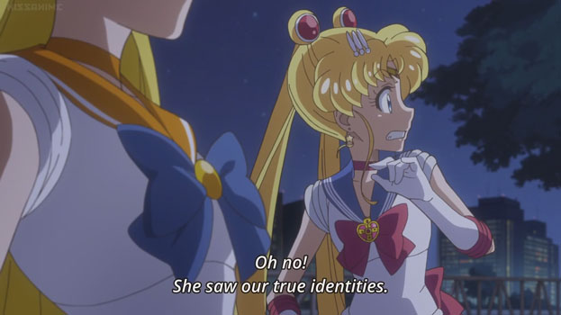 "Usagi looking scared. Text: ""Oh no! She saw our true identities."""