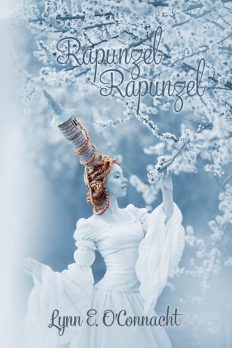 Cover for Rapunzel, Rapunzel. A young woman with very long hair and a tower-shaped hat, reaching out to blossoms on a tree branch.