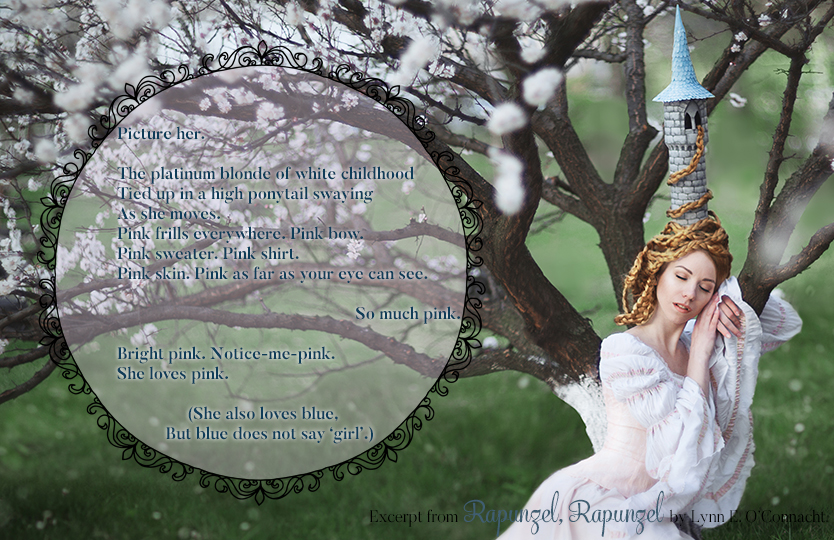 Rapunzel, Rapunzel Teaser #2. A girl with long hair and a tower-shaped hat sleeping against a tree in bloom.