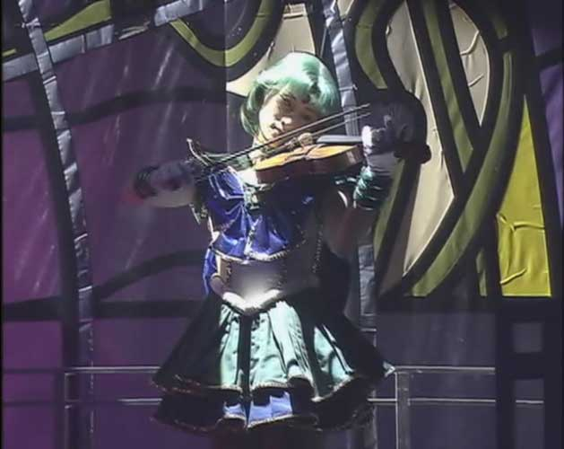 Sailor Neptune, playing a violin right before a battle scene.