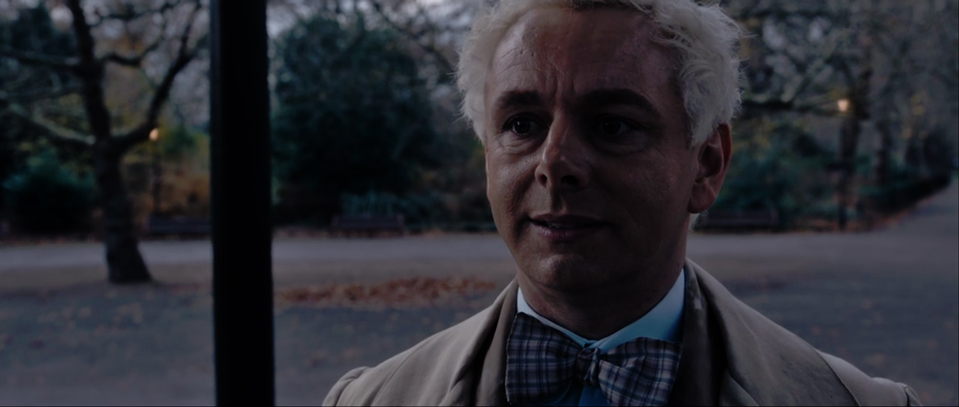 Aziraphale (Sheen) looking crestfallen at the realisation that this goes against the rules he holds so dear.