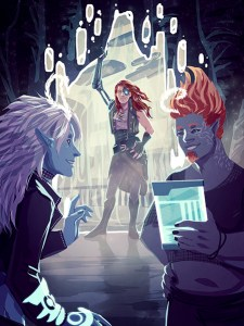 Cover for Dawnfall, showing Zenith, the Ghost Queen and Oz working together.