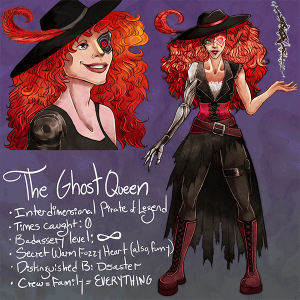 Character sheet for The Ghost Queen, the bad-ass alien pirate queen in Dawnfall
