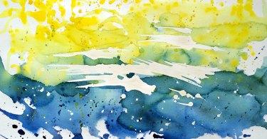 Extrait de sa série abstraite, aquarelle, Pauline