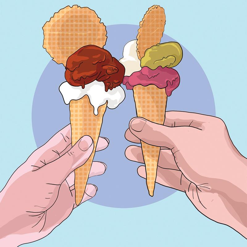 due gelati si toccano