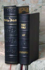 Two Bibles, showing the spines