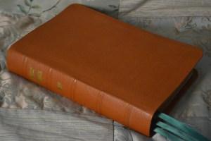 British Tan River Grain Goatskin Bible