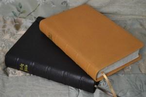 Dark Brown and Butterscotch Soft-Tanned Goatskin Bibles