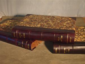 Books rebound in 3/4 leather with Spanish marbled paper on the boards