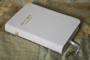 Bible rebound in a soft white pebble grain cowhide