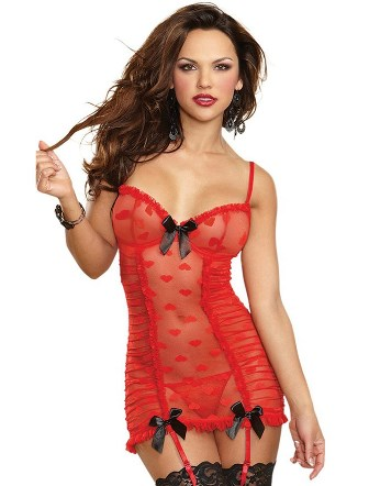Sexy Red Lace Heart Mesh Corset Slip with Garter Set