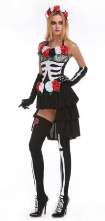 MrsMexican Day of the Dead Halloween Skeleton Costume