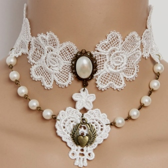 White Lace Pearl Vintage Victorian Burlesque Bridal Choker