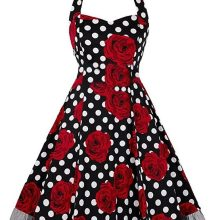 Rockabilly Polka Dot Roses Swing Dress