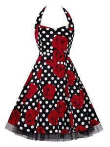Rockabilly Polka Dot Roses Swing Dress