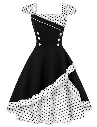 white black polka dot retro 1950s swing dress
