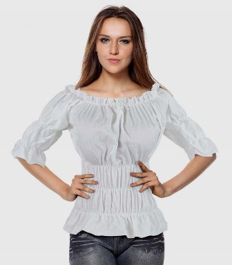 White Steampunk Pirate Wench Rouched Gypsy On / Off Shoulder Top