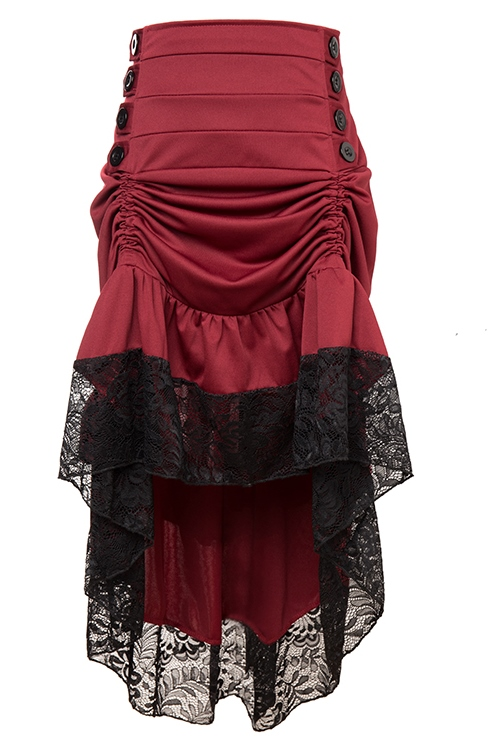 Burgundy Steampunk Burlesque Victorian Skirt