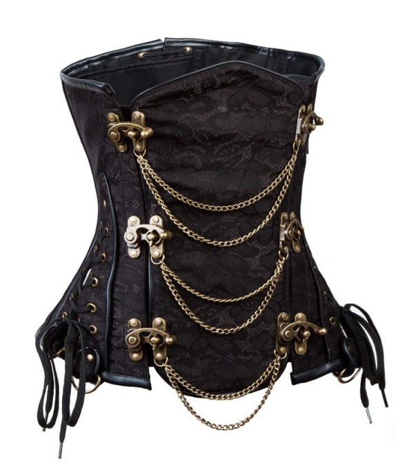 Black Jacquard & Ornate Chains Steampunk Underbust Corset