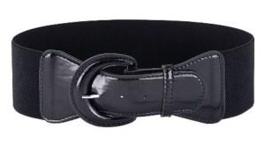 Black PU Elastic Stretch Cinch Belt for Corset Retro Rockabilly