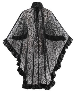 Black Lace Punk Gothic Rave Cape Cloak Free Size