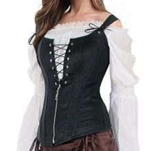 Black Faux Leather Steampunk Corset Vest