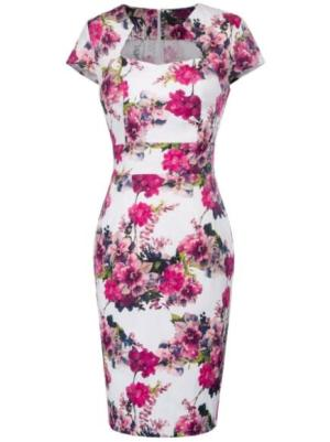 Pink Floral Retro Pin Up Pencil Dress