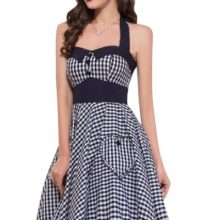Black and White Gingham Halter Neck