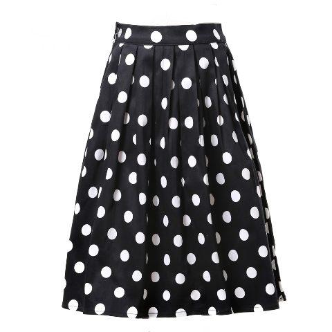 Black & White Polka Dot Retro Rockabilly Swing Skirt