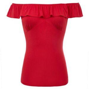 Red Belle Poque Off Shoulder Retro Rockabilly Ruffle Top